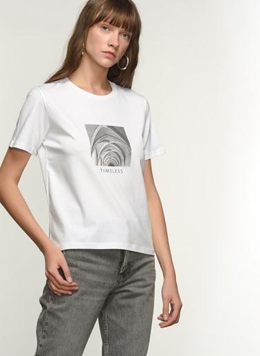 NGSTYLE NGKSS21TS0038 Baskılı Tişört Beyaz